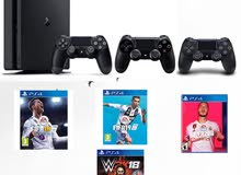 PlayStation 4 Slim with 3 controllers and FiFa 18,19 and 20, also with  WWE 2K 18