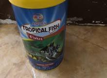 حوض سمك صغير مع عدة التنظيف وطعام سمك