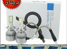طقم زينون LED مع مراوح تبريد شمعتين C6,  عالي الجودة نخب اول, يركب لجميع انواع ا
