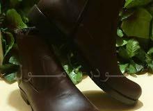 حذاء رجالي هاف بوت جلد طبيعي بني