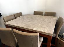 Gorgeous marble dining table and 8 chairs for Sale