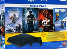 Play station 4 Slim, box piece sealed, with 4 games , 1 controller, and 3 months PS plus membership.