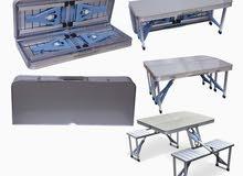 طقم طاولة التخييم القابلة للطي الألومنيوم العملية للغاية مع 4 مقاعد