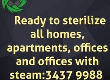 Ready to sterilize all homes, apartments, offices and offices with steam