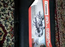 Chrome Dumbbell (20kg) with free dummy trimmer and wheel roller