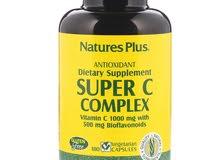 المنتج الامريكي والمكمل الغذائي فيتامين سي complex الكامل  والعضوي الطبيعي يرفع