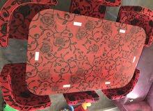 طالولة سفرة بلور ماكن وقوي 6كراسي لون احمر مميزة بتصميم عصري