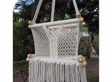 Baby Swing Hanging Swing - Handmade Macrame Cotton Beige Indoor baby Swing
