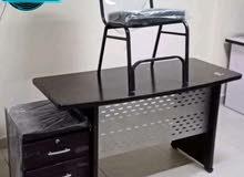 مكتب شاسيه معدن +وحدت ادراج+كرسي