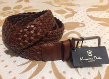 Massimo Dutti Braided Brown Leather Belt