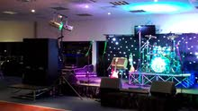 sound and light with stage with fireworks and DJ for your special event