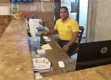 شاب مصري خبرة في مجال الاستقبال الفندقي