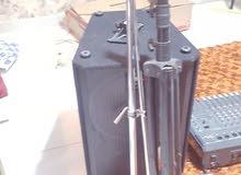 Speakers + Stand + Power Mixer + Mic