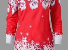 T-SHIRTS SANTA CLAUS SNOWFLAKE SKEW NECK PULLOVER T SHIRT