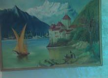 لوحه رسم قديمه عمرها اربعه وخمسون عام بحاله حيده جداً