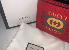 Gucci Red Leather Logo Print Wallet