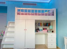 KIDS BUNK BED WITH DESK AND CLOSET FOR SALE