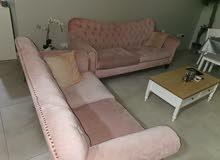 طقم جلوس مقعدين وثلاث مقاعد مع سرير من هوم سنتر بال1500نظيف