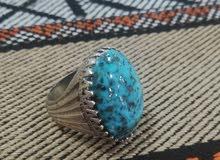 للبيع خاتم فضة حجر راقي طبيعي فيروز نيشابوري ايراني الاصلي