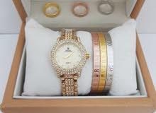 ساعة جميلة مع خواتم واساور