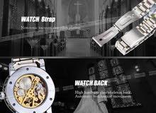 WINNER Golden Watches Men Skeleton Mechanical Watch Stainless Steel
