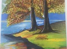 لوحة بألوان اكريلك
