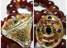 خاتم فضة ايرانى ملوكي متوج بالأحجار الكريمه