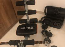 مجموعة اجهزة رياضيه، دراجه ومقعد تمارين البطن والقدم والذراعين
