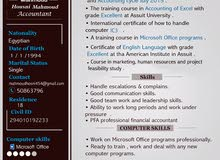 an accountant looking for a job