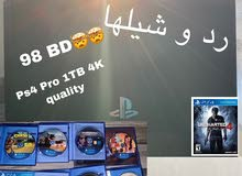 Ps4 Pro ( 2 controllers and games with HDMI and Ethernet Cable provided)