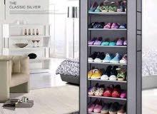 من #جديد #خزانة احذية بهيكل معدني وغطاء قماشي تحتوي على #9رفوف بشكل رائع جدا