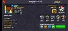 حساب 8ball pool يوجد فيه عصيات لجندري و تغير اسم و عضويه vip