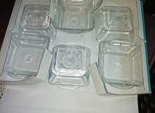 صحون زبادي زجاج  بايركس 12 قطعة دينار ونص للدزينه