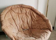 كرسي جلد قابل للطي لون بني  - Folded leather chair brown color