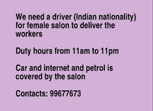 we need a driver ( Indian nationality ) for female salon to deliver the workers