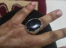 خاتم فضة فص يماني اصلي حجم كبير