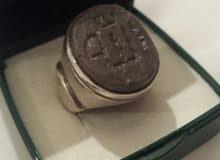 لهواه الفخامة خاتم فضه تقيلة 925 بحجر يشم قديم