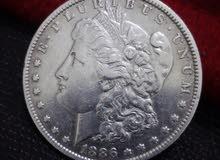 one silver dollar 1886-O دولار فضه امريكي قديم نادر