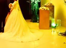 فستان زفاف تركي فخم مع طرحه بحالة ممتازة استخدام مره واحده