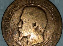 عملات فرنسية قديمة جدا قيمة من سنة 1854 للملك نابليون