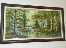 لوحة رسم يد دهان زيتي واطار من الخشب الطبيعي