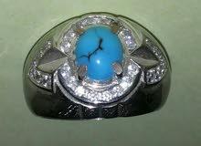 خاتم فيروزي مرصع بماس