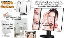مرآة مكياج بمرآة جانبية 2× وستاند وإضاءة ليد المرآة المضيئة مرآة مكبرة للنجوم تع
