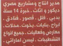مدير انتاج ومشاريع مصري ديكور واثاث وتصميم داخلي خبره 15 سنه في دبي. فلل-قصور-فن