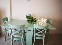 dinning table with four chairs from crate and parrel