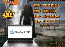 HP ELITEBOOK 745 G4جيل ثامن رمات 16 جيجا DDR4ب2هارد SSD لشغل الجرافيك العالي