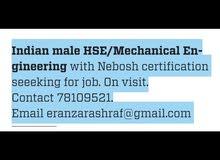 HSE/Mechanical engineer seeking for suitable positions