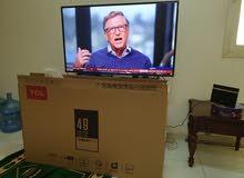 تليفزيون 49 بوصة سمارت جديد بحالة ممتازة استعمال خفيف بالكرتونة