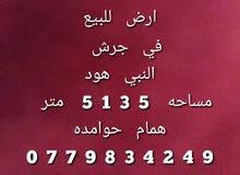 ارض للبيع في جرش النبي هود مساحه 5135 متر