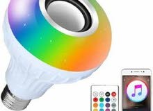 Colored LED bulb with bluetooth speaker, with remote control
